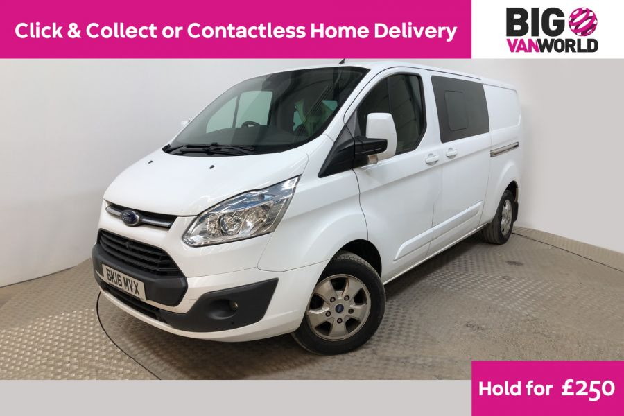 FORD TRANSIT CUSTOM 290 TDCI 125 L2H1 LIMITED DOUBLE CAB 6 SEAT CREW VAN LWB LOW ROOF FWD - 11880 - 1