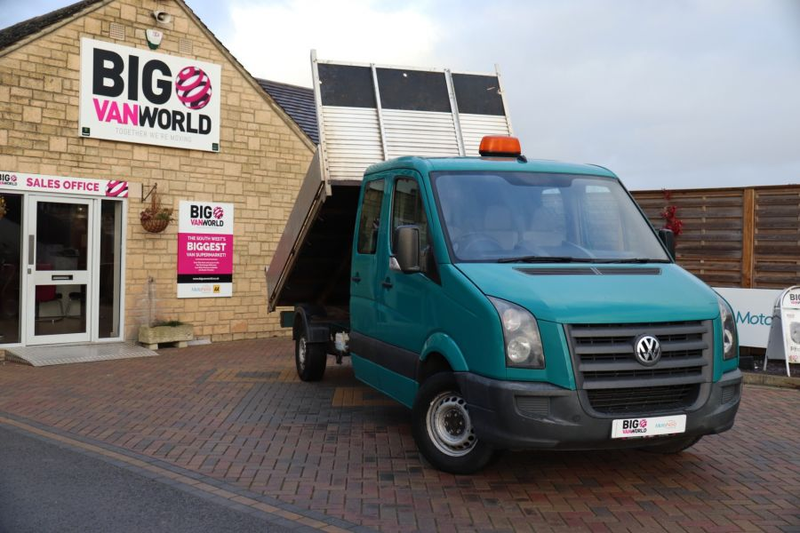 VOLKSWAGEN CRAFTER CR35 TDI 109 LWB 7 SEAT DOUBLE CAB ALLOY TIPPER - 9967 - 1
