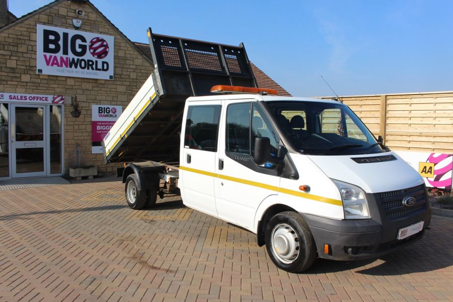 FORD TRANSIT 350 TDCI 155 LWB 6 SEAT DOUBLE CAB 'ONE STOP' ALLOY TIPPER DRW RWD - 7337 - 2